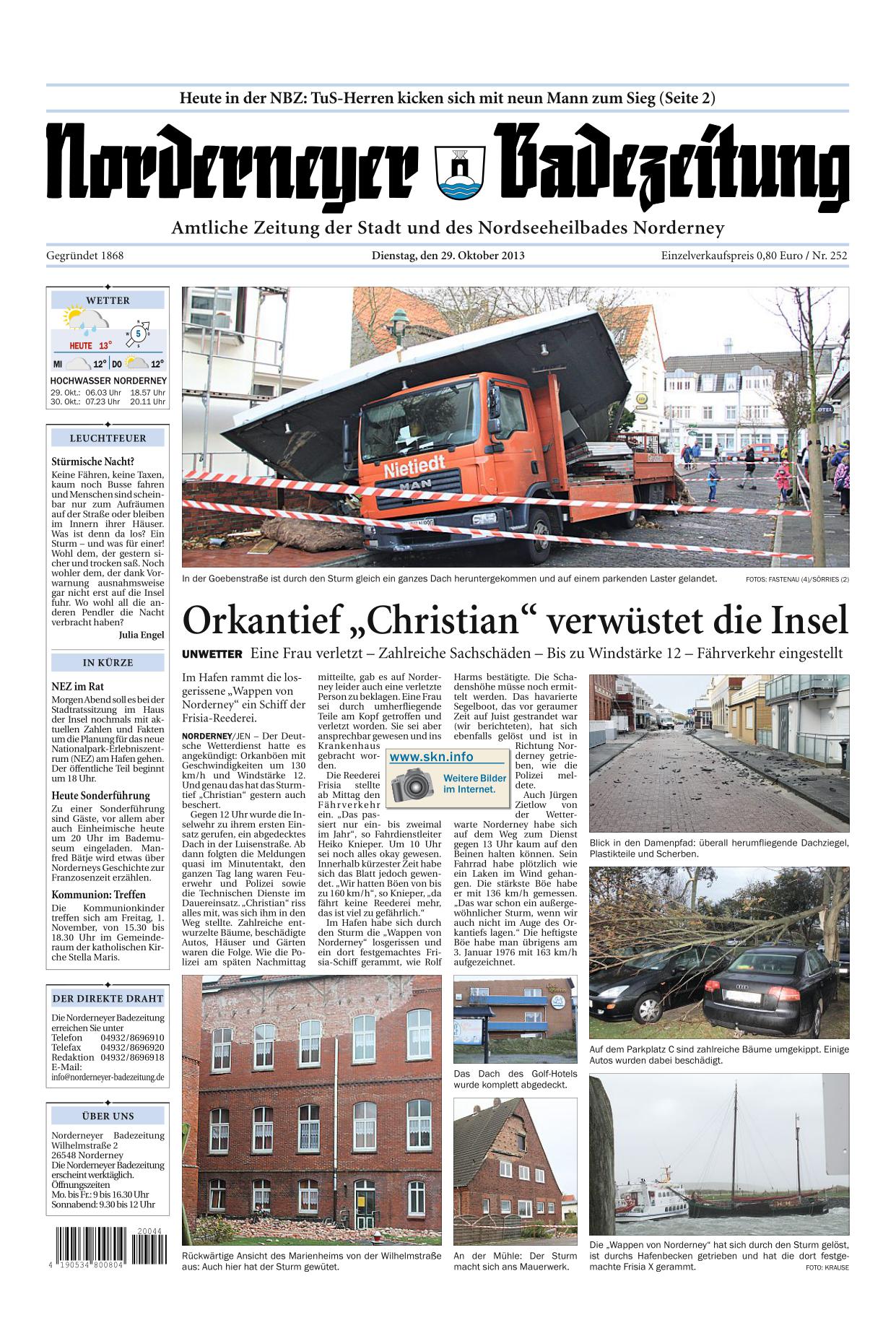 Titelseite Norderneyer Badezeitung 29.10.2013